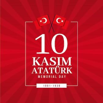 Atatürk-gedenktag in flachem design