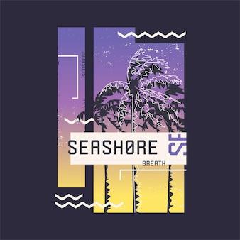 Atem der küste. grafisches t-shirt design zum thema sommer, urlaub, strand, meer, tropen. vektor-illustration.