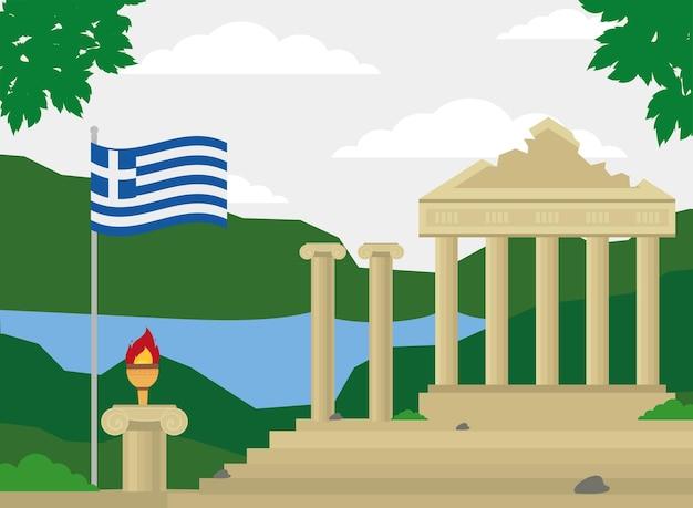 Athena-tempel und flagge