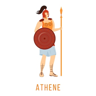 Athene wohnung. altgriechische gottheit. göttin der weisheit und des mutes. mythologie. göttliche mythologische figur. isolierte zeichentrickfigur auf weißem hintergrund
