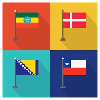 Äthiopien Dänemark Bosnien und Herzegowina und Chile Flaggen