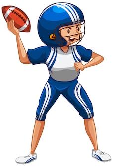 Athlet, der american football auf weiß tut