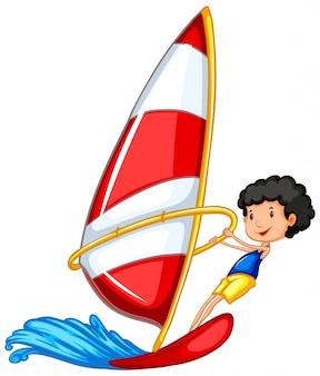 Athlet, der das segeln lokalisiert tut