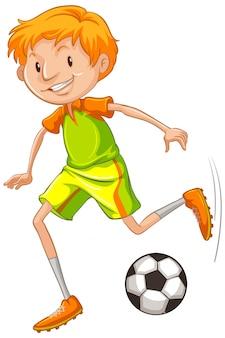 Athlet, der fußball spielt