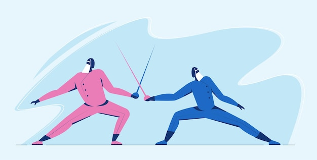 Athlet mann fechten duell wettbewerb. sportler im kampf mit schwertkämpfen in blauer und rosa farbe.