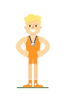Athlet mann silbermedaille zu gewinnen