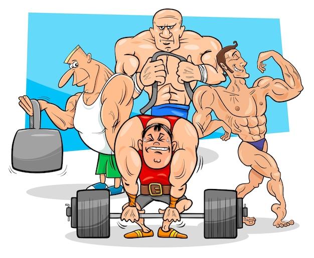 Athleten an der turnhallenkarikaturillustration