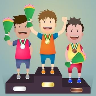 Athleten auf dem podium
