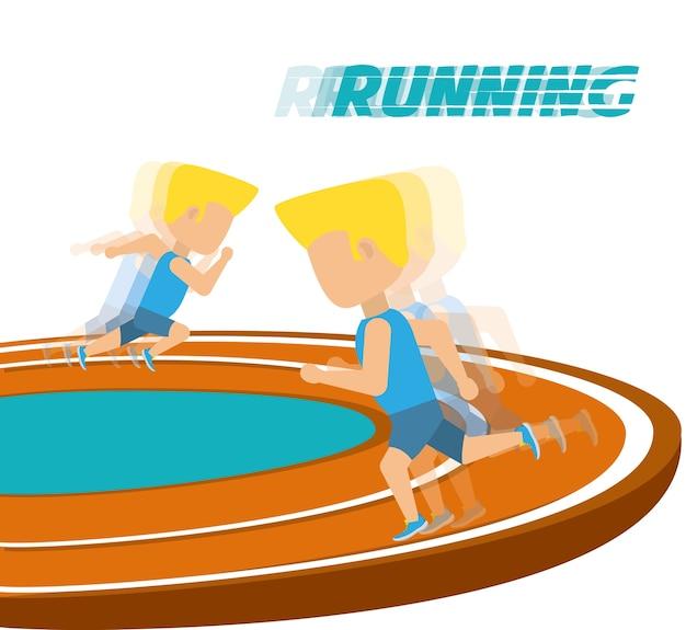 Athleten, die in wettbewerbsmeisterschaft um bahn laufen