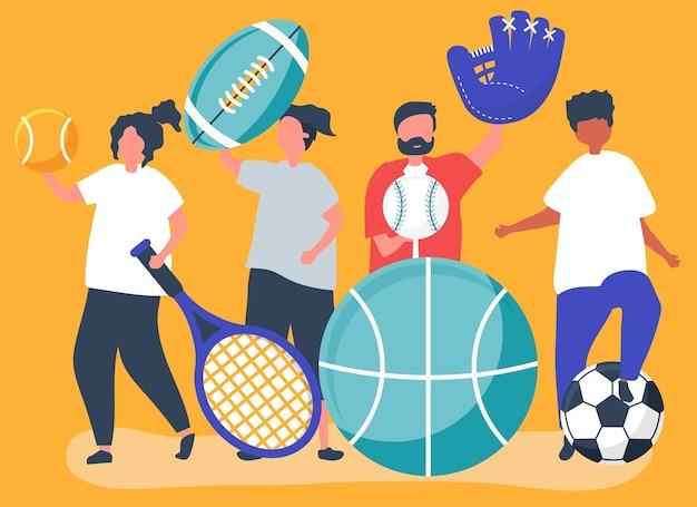 Athleten, die verschiedene sportikonen tragen
