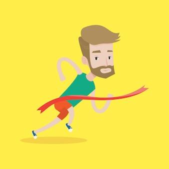 Athleten, die ziellinienvektorillustration kreuzen.