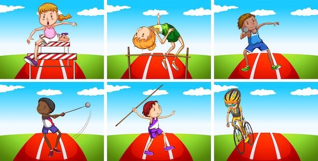 Athleten machen verschiedene sportarten auf dem feld