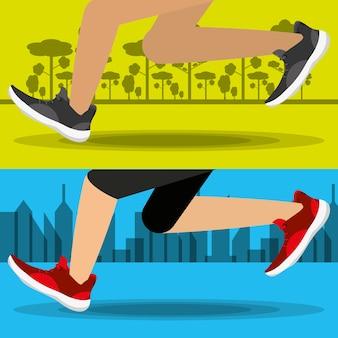 Athleten mit laufschuhen tragen wettbewerbskonzept zur schau