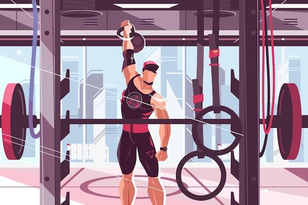 Athletentraining in der turnhallevektorillustration starker mann, der muskeln mit großem gewichtdesign pumpt