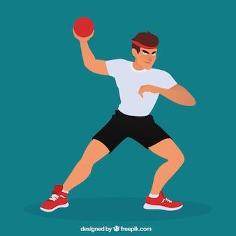 Athletischer handballspieler mit flachem design
