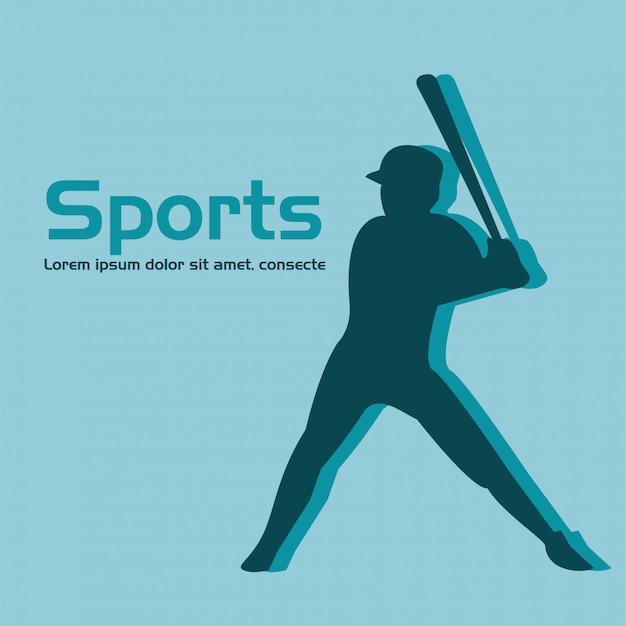 Athletischer mann, der baseball-sportschattenbild übt