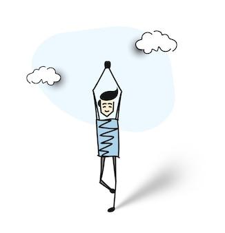 Athletischer mann macht yoga-übungen, cartoon-hand gezeichneter vektor-hintergrund.