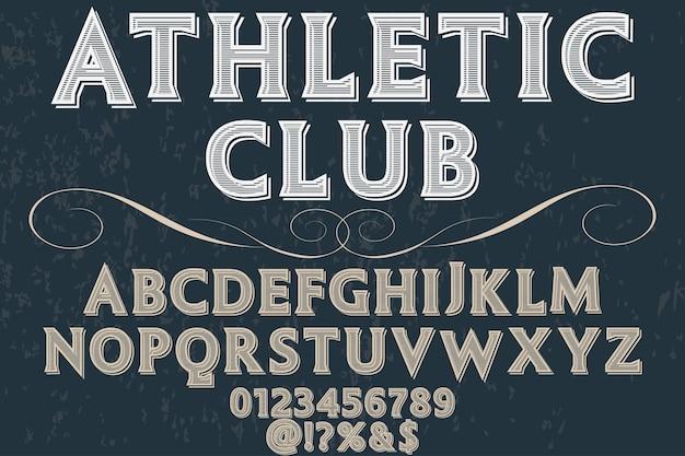 Athletischer verein der vintagen typografie-schriftart