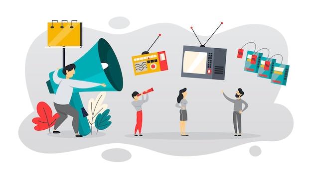 Atl oder über der leitung kommunikation mit dem kunden. fernseh- und zeitungswerbung. ankündigung auf plakatwand. illustration