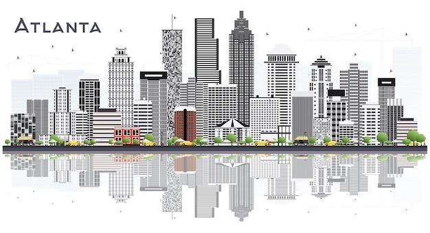 Atlanta georgia usa skyline der stadt mit grauen gebäuden, isoliert auf weiss. illustration