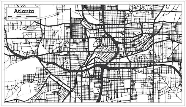 Atlanta georgia usa stadtplan im retro-stil schwarz-weiß-farbe. übersichtskarte. vektor-illustration.