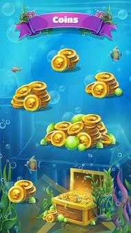 Atlantis ruinen - vektor-illustration mobile format münzen fenster.