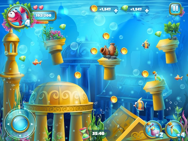 Atlantis ruiniert das spielfeld Premium Vektoren