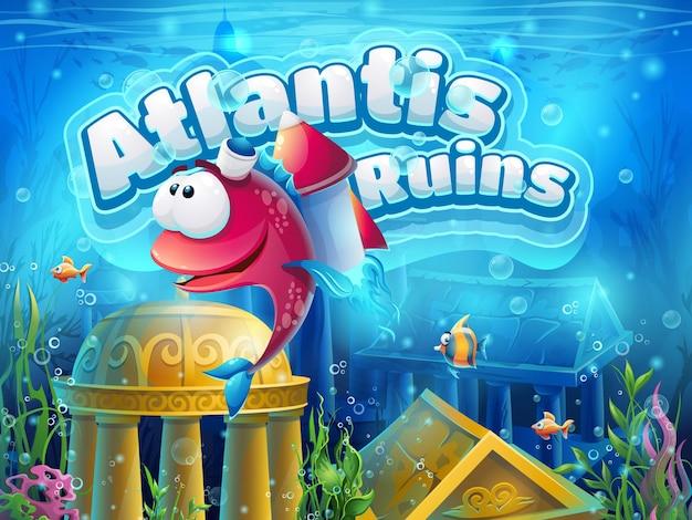 Atlantis ruiniert lustige fische - vektorillustration für spiel.