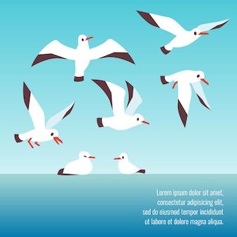 Atlantische seevögel, die hintergrunddesignschablone fliegen