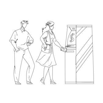 Atm-bank-maschine mit frau für geld schwarze linie bleistiftzeichnung vektor erhalten. junges mädchen und mann verwenden atm-elektronische geräte, um geldscheine zu bekommen. charaktere finanzdienstleistungsillustration