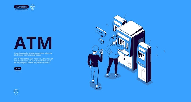 Atm banner. geldautomat, terminal zum abheben von bargeld, transaktionen und zahlungen.