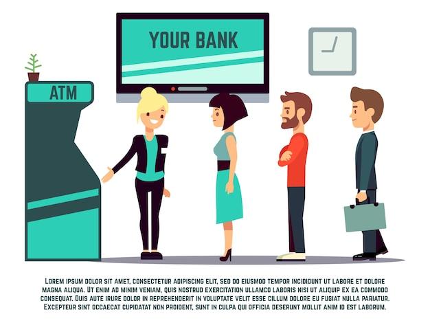 Atm-warteschlange mit bankberater