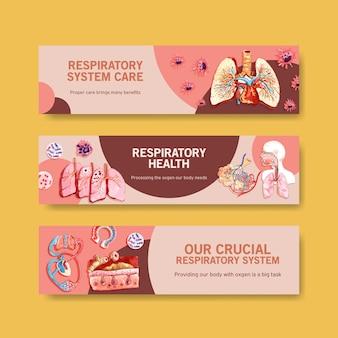 Atmungsbanner-design mit menschlicher anatomie der lunge