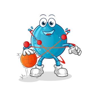 Atom dribble basketball illustration