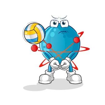 Atom spielen volleyball maskottchen