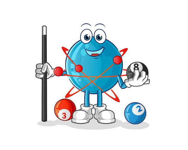 Atom spielt billardillustration