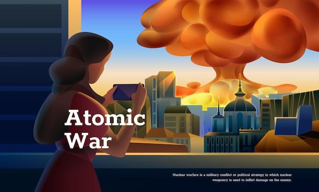 Atomkriegskonzept. frau beobachtet atombombe, die in der stadt explodiert