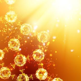 Atompartikel über orangefarbenem hintergrund mit leuchtenden funken.