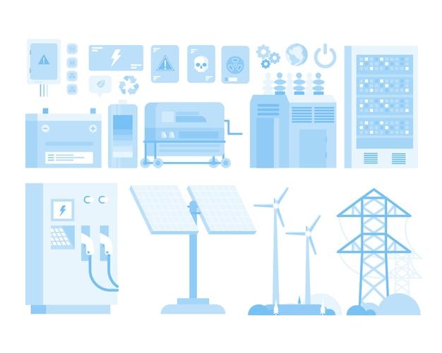 Atomwindmühlen-elektrisches stadtauto-design-flache illustration der erneuerbaren energie