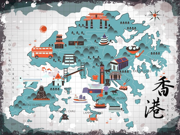 Attraktive hongkong-reisekarte im flachen stil - hongkong-reise im chinesischen wort unten rechts