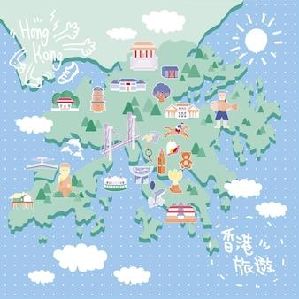 Attraktive hongkong-reisekarte im flachen stil