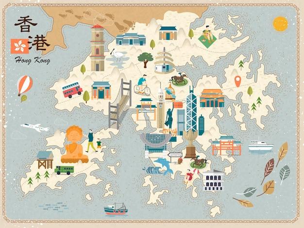 Attraktive hongkong-reisekarte mit sehenswürdigkeiten-symbolen im flachen design