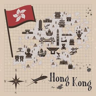 Attraktive hongkong-reisekonzeptkarte auf briefpapier