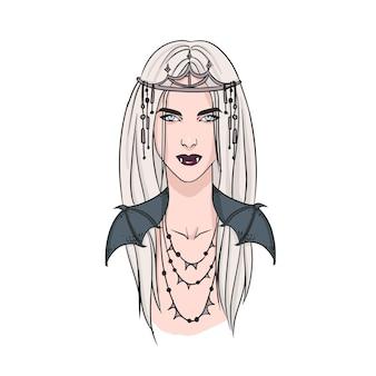 Attraktive junge blonde frau mit reißzähnen und tragendem diadem. schrecklicher folkloristischer charakter isoliert auf weißem hintergrund. porträt der vampirkönigin. bunte vektorillustration im realistischen stil.