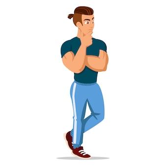 Attraktive junge männer in sportkleidung. junger sportler. netter karikaturmann. erfolgreiche junge leute. illustration auf dem weißen hintergrund.