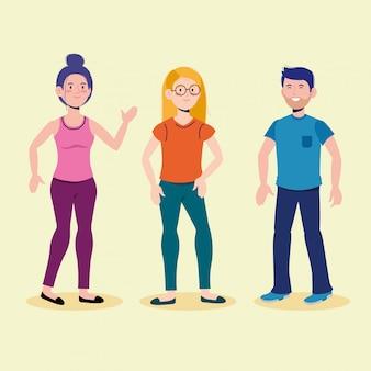 Attraktive jungen und mädchen, die mit freizeitkleidung sprechen