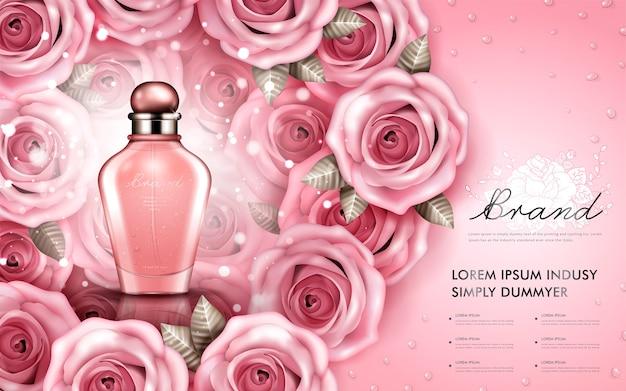Attraktive parfüm- oder kosmetikwerbung, glänzende glasflasche mit rosen isolierte 3d illustration