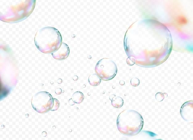Attraktiver blasensatz, seifenblasen lokalisiert auf transparentem hintergrund s, 3d illustration