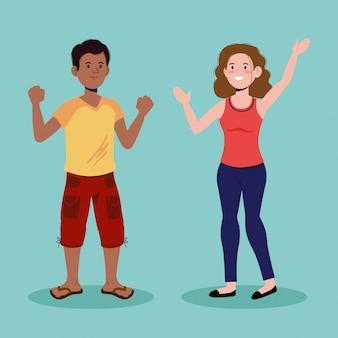 Attraktiver junge und mädchen, die mit freizeitkleidung sprechen