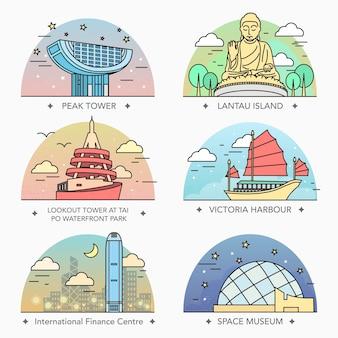 Attraktives design der hongkong-reisekollektionen im thin-line-stil